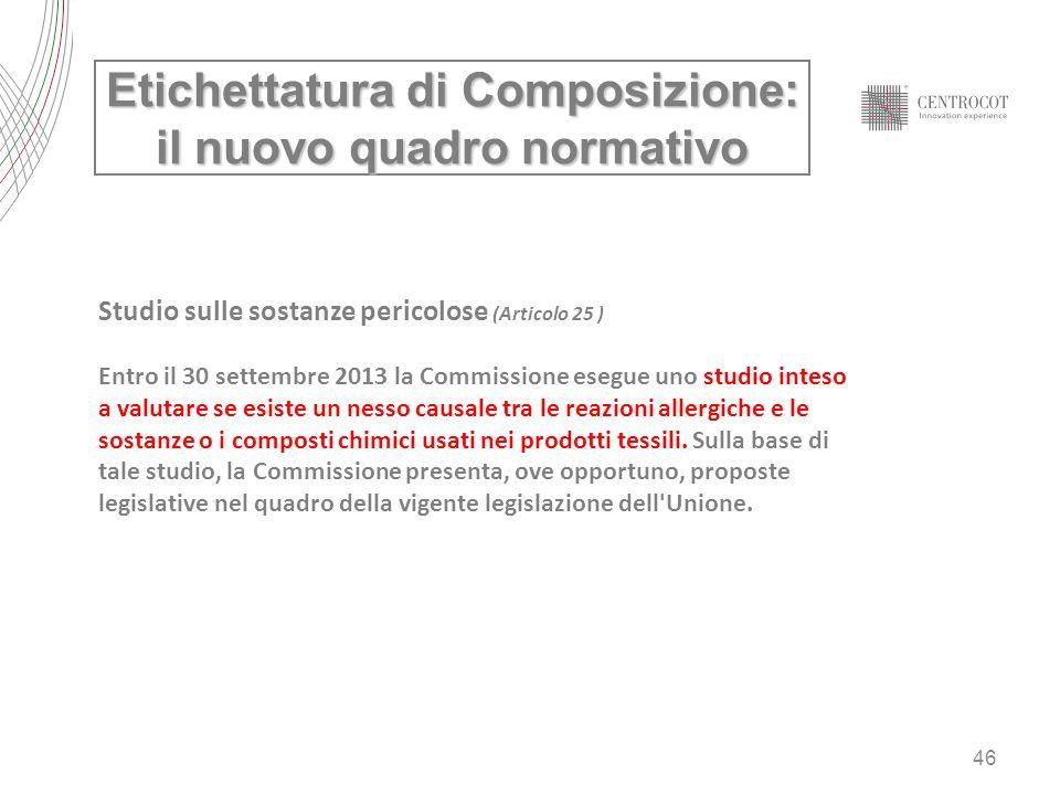 46 Studio sulle sostanze pericolose (Articolo 25 ) Entro il 30 settembre 2013 la Commissione esegue uno studio inteso a valutare se esiste un nesso ca