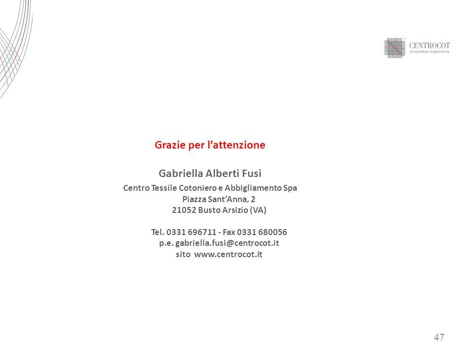 47 Grazie per lattenzione Gabriella Alberti Fusi Centro Tessile Cotoniero e Abbigliamento Spa Piazza SantAnna, 2 21052 Busto Arsizio (VA) Tel. 0331 69