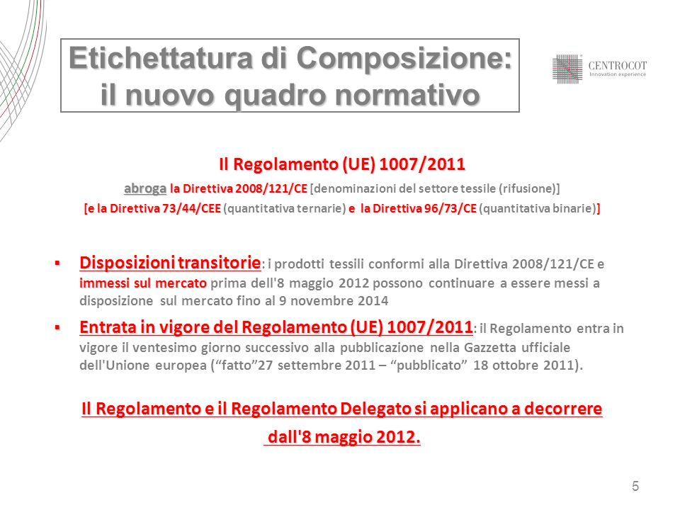 5 Il Regolamento (UE) 1007/2011 abroga la Direttiva 2008/121/CE abroga la Direttiva 2008/121/CE [denominazioni del settore tessile (rifusione)] [e la