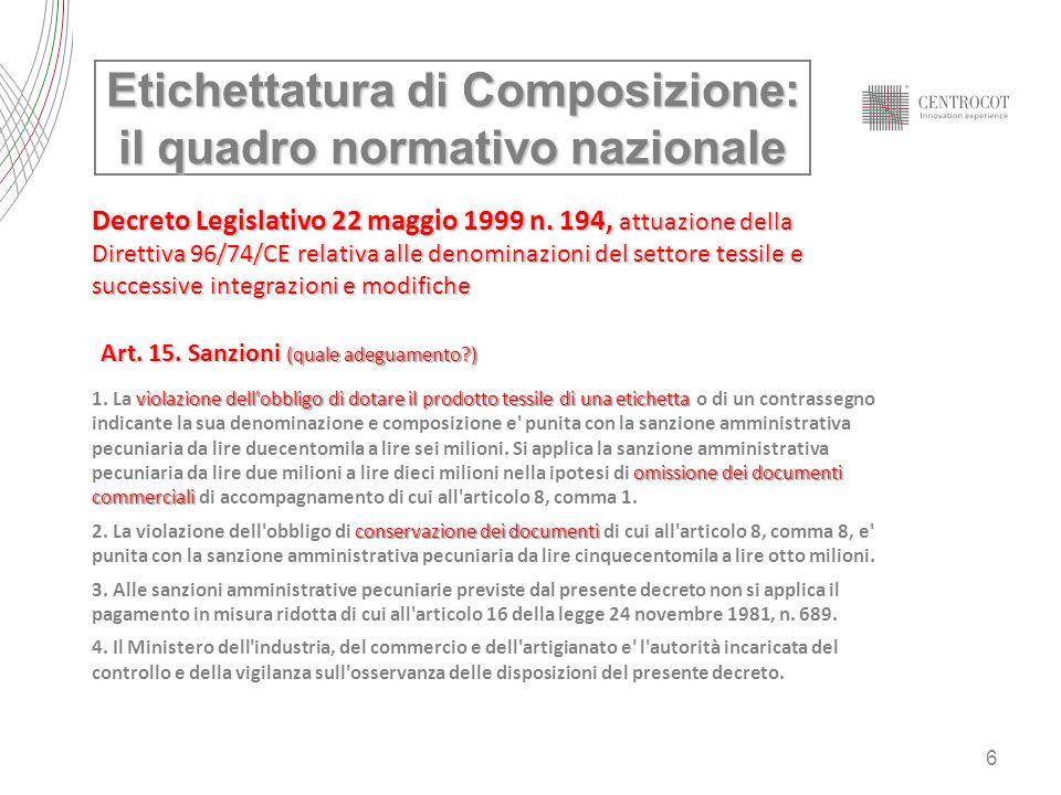 6 Decreto Legislativo 22 maggio 1999 n. 194, attuazione della Direttiva 96/74/CE relativa alle denominazioni del settore tessile e successive integraz