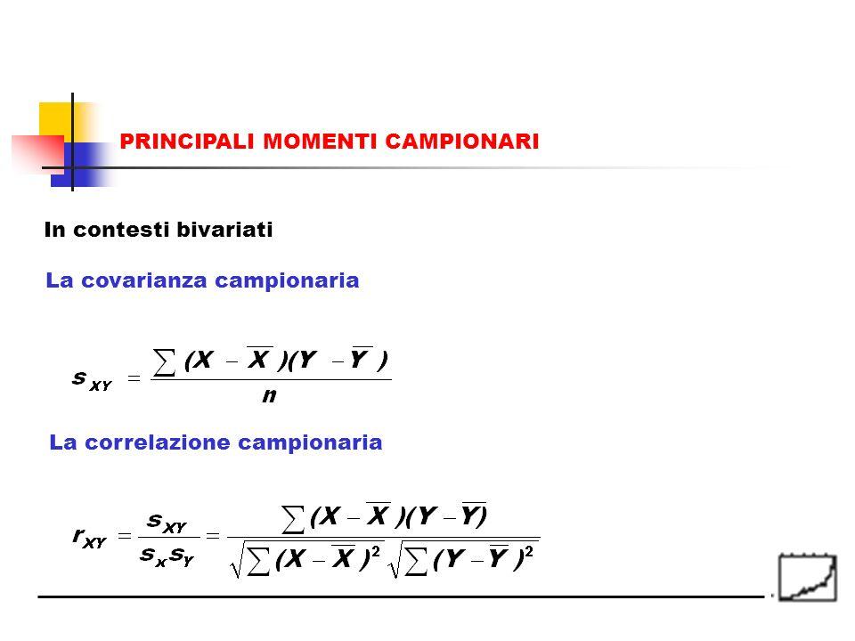PRINCIPALI MOMENTI CAMPIONARI La covarianza campionaria La correlazione campionaria In contesti bivariati