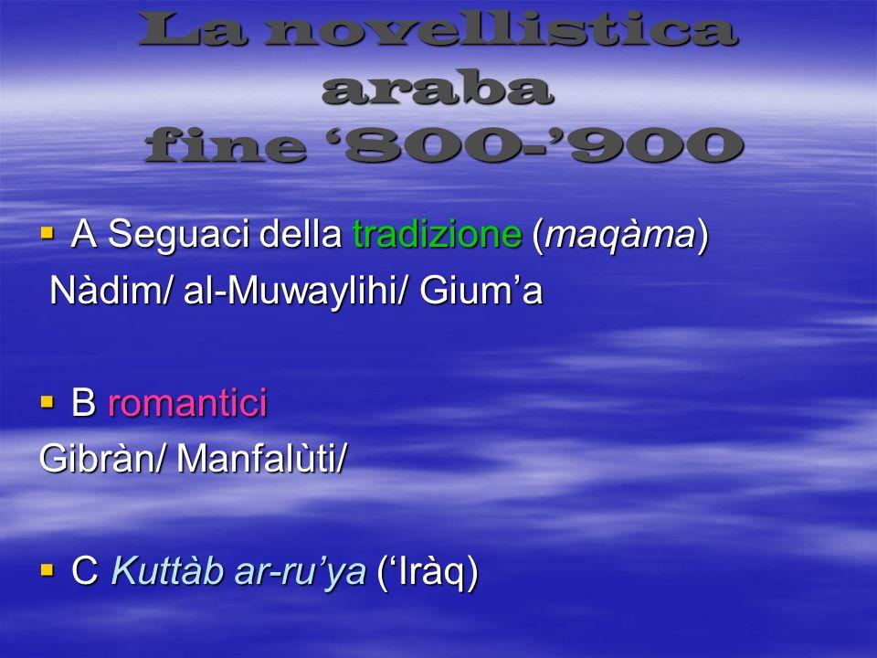 La novellistica araba fine 800-900 A Seguaci della tradizione (maqàma) A Seguaci della tradizione (maqàma) Nàdim/ al-Muwaylihi/ Giuma Nàdim/ al-Muwayl