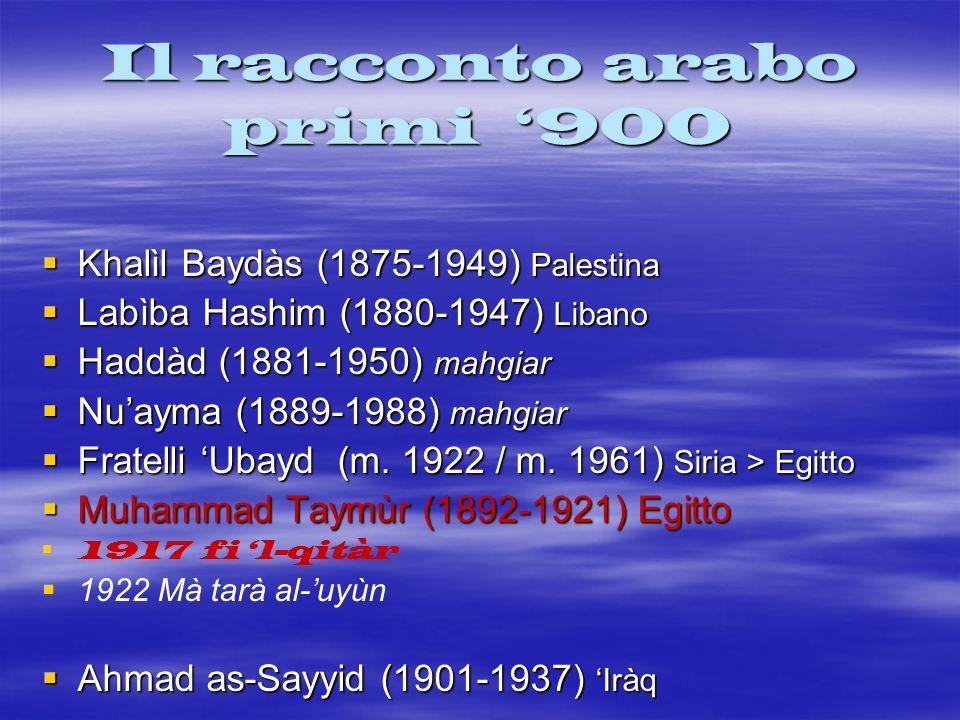 Il racconto arabo primi 900 Khalìl Baydàs (1875-1949) Palestina Khalìl Baydàs (1875-1949) Palestina Labìba Hashim (1880-1947) Libano Labìba Hashim (18