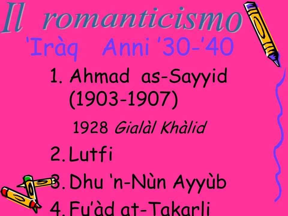 Iràq Anni 30-40 1.Ahmad as-Sayyid (1903-1907) 1928 Gialàl Khàlid 2.Lutfi 3.Dhu n-Nùn Ayyùb 4.Fuàd at-Takarli