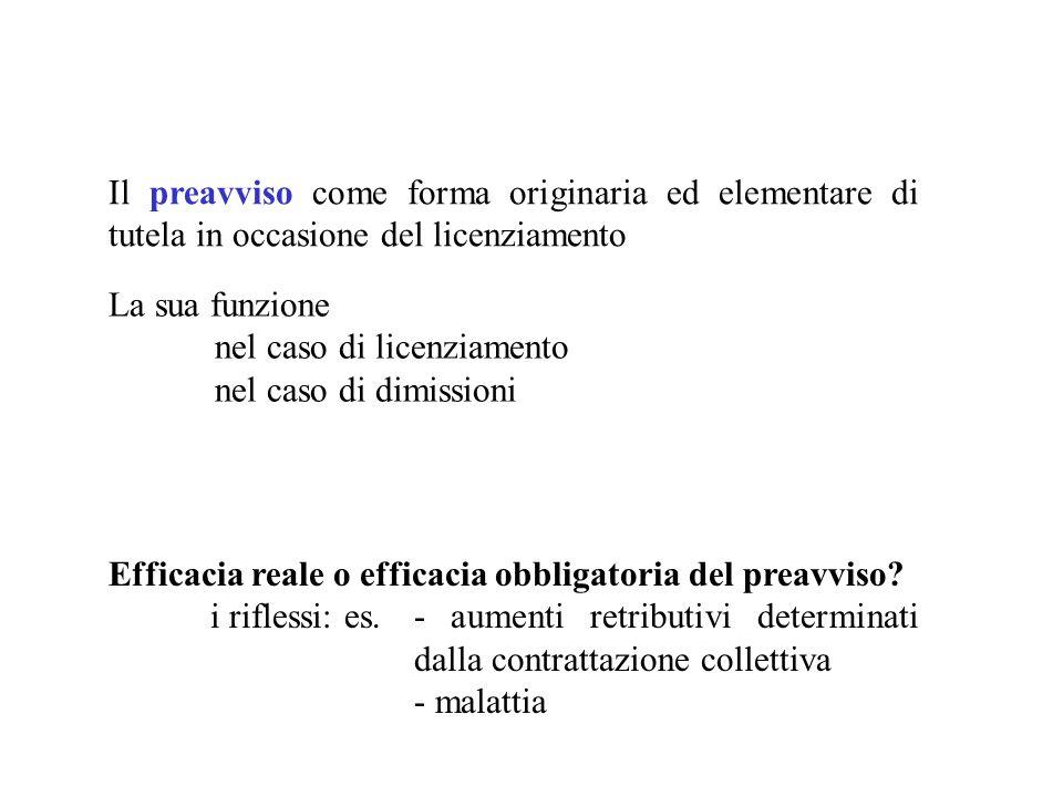 Il preavviso come forma originaria ed elementare di tutela in occasione del licenziamento La sua funzione nel caso di licenziamento nel caso di dimiss