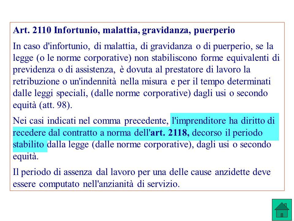 Art. 2110 Infortunio, malattia, gravidanza, puerperio In caso d'infortunio, di malattia, di gravidanza o di puerperio, se la legge (o le norme corpora