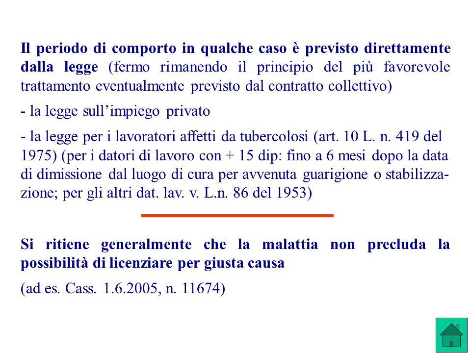 Il periodo di comporto in qualche caso è previsto direttamente dalla legge (fermo rimanendo il principio del più favorevole trattamento eventualmente