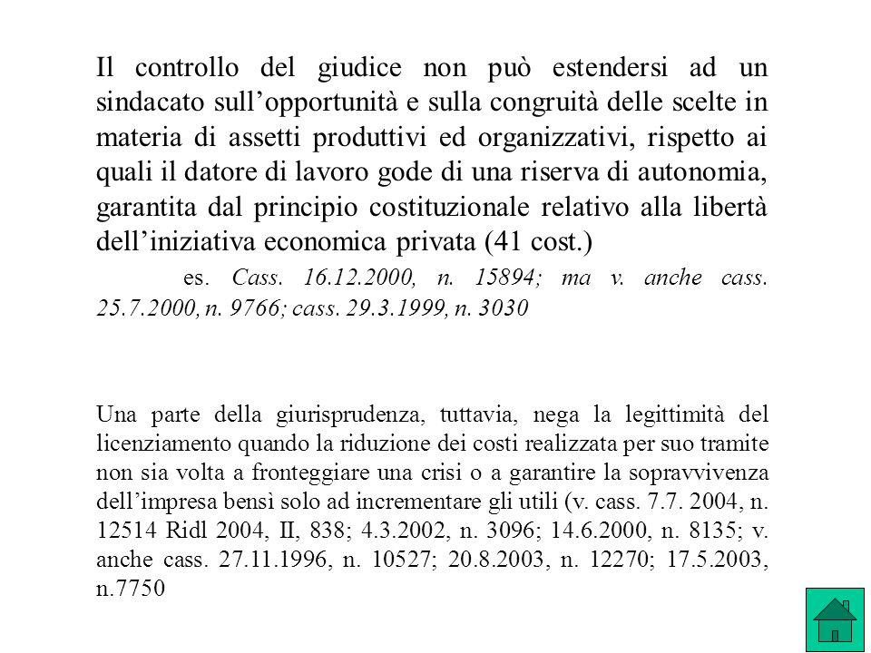 Il controllo del giudice non può estendersi ad un sindacato sullopportunità e sulla congruità delle scelte in materia di assetti produttivi ed organiz