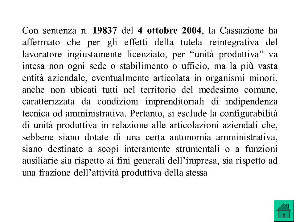 Con sentenza n. 19837 del 4 ottobre 2004, la Cassazione ha affermato che per gli effetti della tutela reintegrativa del lavoratore ingiustamente licen