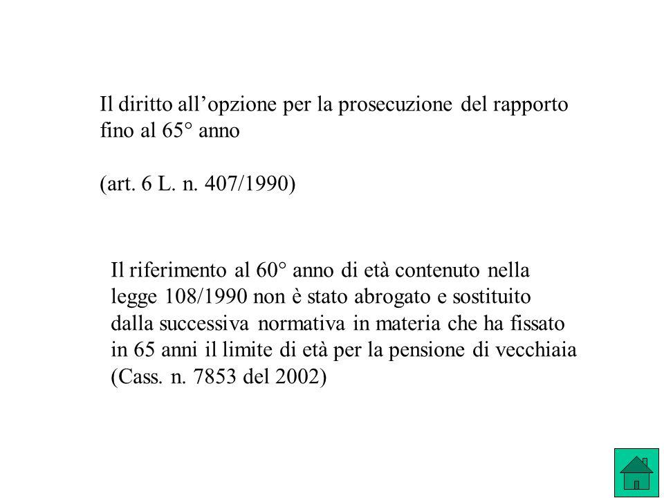 Il diritto allopzione per la prosecuzione del rapporto fino al 65° anno (art. 6 L. n. 407/1990) Il riferimento al 60° anno di età contenuto nella legg
