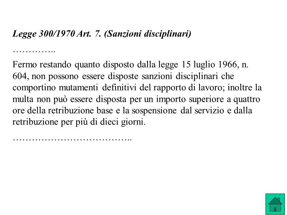 Legge 300/1970 Art. 7. (Sanzioni disciplinari) ………….. Fermo restando quanto disposto dalla legge 15 luglio 1966, n. 604, non possono essere disposte s