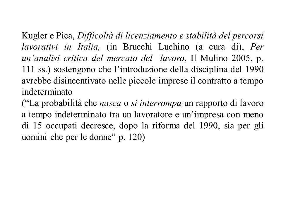 Kugler e Pica, Difficoltà di licenziamento e stabilità del percorsi lavorativi in Italia, (in Brucchi Luchino (a cura di), Per unanalisi critica del m