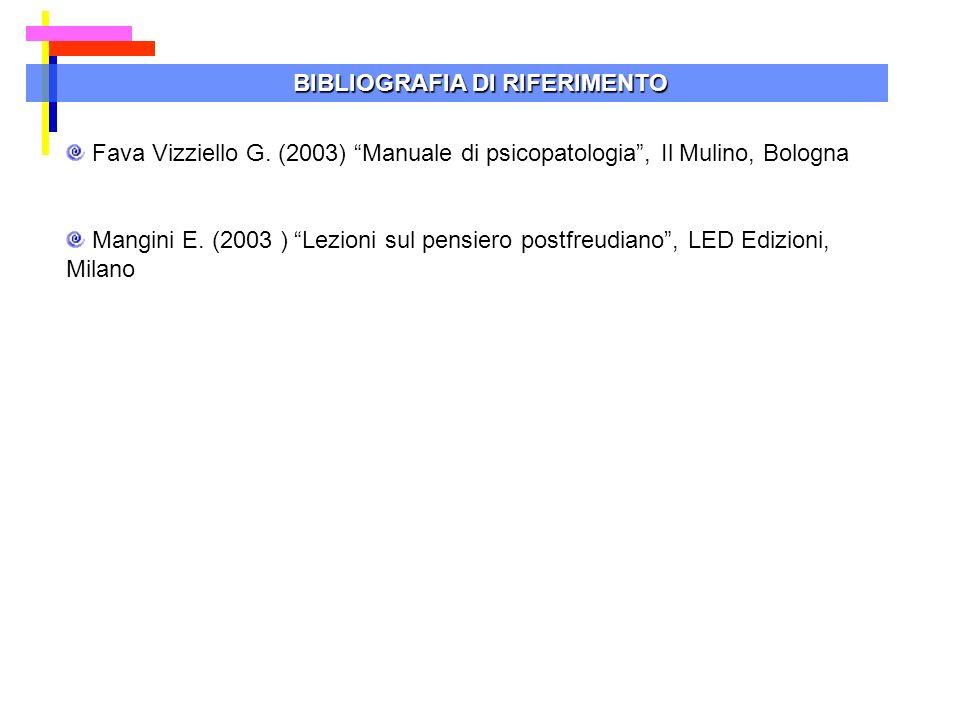 BIBLIOGRAFIA DI RIFERIMENTO Fava Vizziello G. (2003) Manuale di psicopatologia, Il Mulino, Bologna Mangini E. (2003 ) Lezioni sul pensiero postfreudia