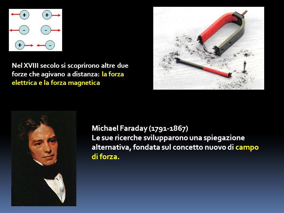 Nel XVIII secolo si scoprirono altre due forze che agivano a distanza: la forza elettrica e la forza magnetica Michael Faraday (1791-1867) Le sue rice