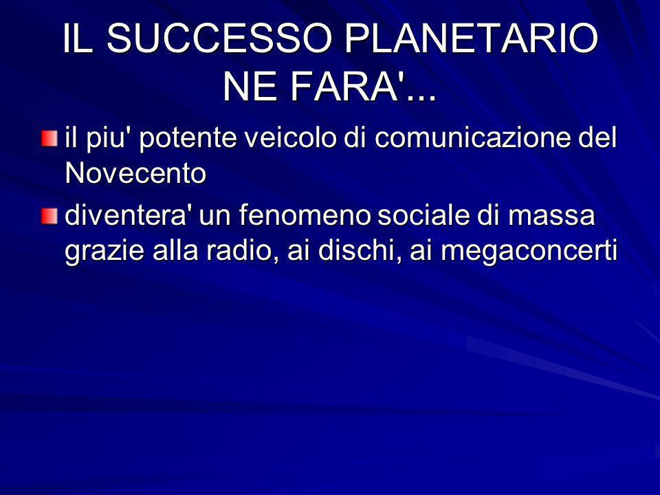IL SUCCESSO PLANETARIO NE FARA'... il piu' potente veicolo di comunicazione del Novecento diventera' un fenomeno sociale di massa grazie alla radio, a