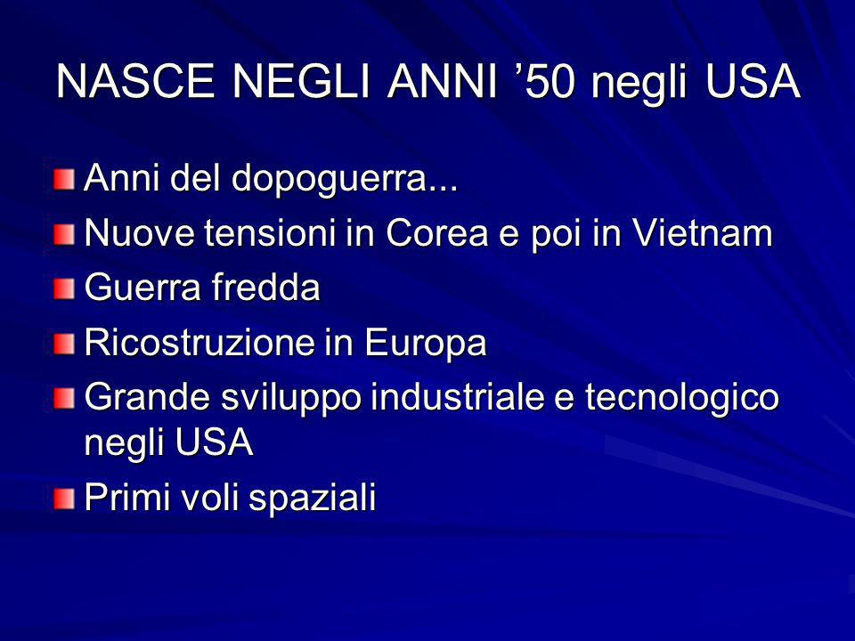 NASCE NEGLI ANNI 50 negli USA Anni del dopoguerra... Nuove tensioni in Corea e poi in Vietnam Guerra fredda Ricostruzione in Europa Grande sviluppo in