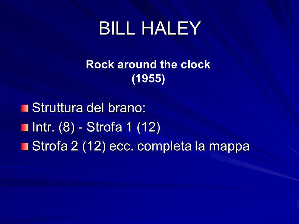 BILL HALEY Struttura del brano: Intr. (8) - Strofa 1 (12) Strofa 2 (12) ecc. completa la mappa Rock around the clock (1955)