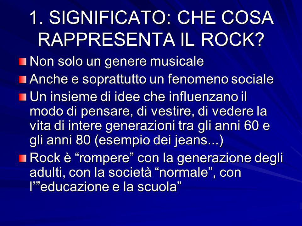 LE ORIGINI DEL ROCK rhytm and blues (afroamericano) - country and western JAZZ rock and roll heavy metal hard rock punk rock metal rap reggae house rock psichedelico grunge dance - techno beat