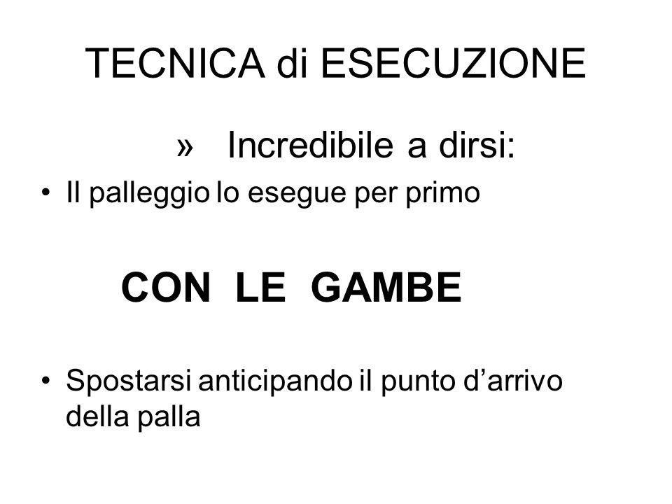 TECNICA di ESECUZIONE » Incredibile a dirsi: Il palleggio lo esegue per primo CON LE GAMBE Spostarsi anticipando il punto darrivo della palla