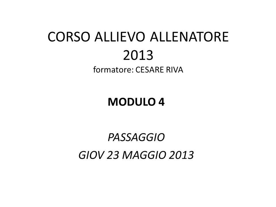 CORSO ALLIEVO ALLENATORE 2013 formatore: CESARE RIVA MODULO 4 PASSAGGIO GIOV 23 MAGGIO 2013