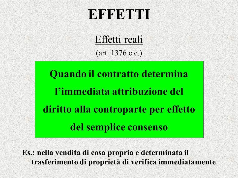 EFFETTI Effetti reali (art. 1376 c.c.) Quando il contratto determina limmediata attribuzione del diritto alla controparte per effetto del semplice con