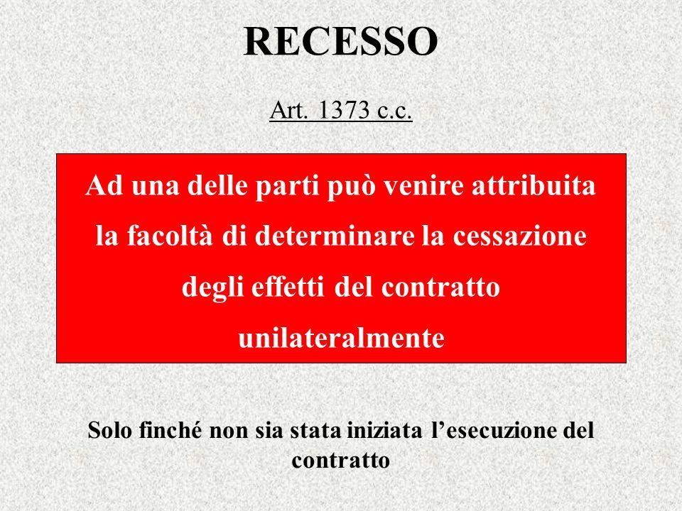 RECESSO Art. 1373 c.c. Ad una delle parti può venire attribuita la facoltà di determinare la cessazione degli effetti del contratto unilateralmente So