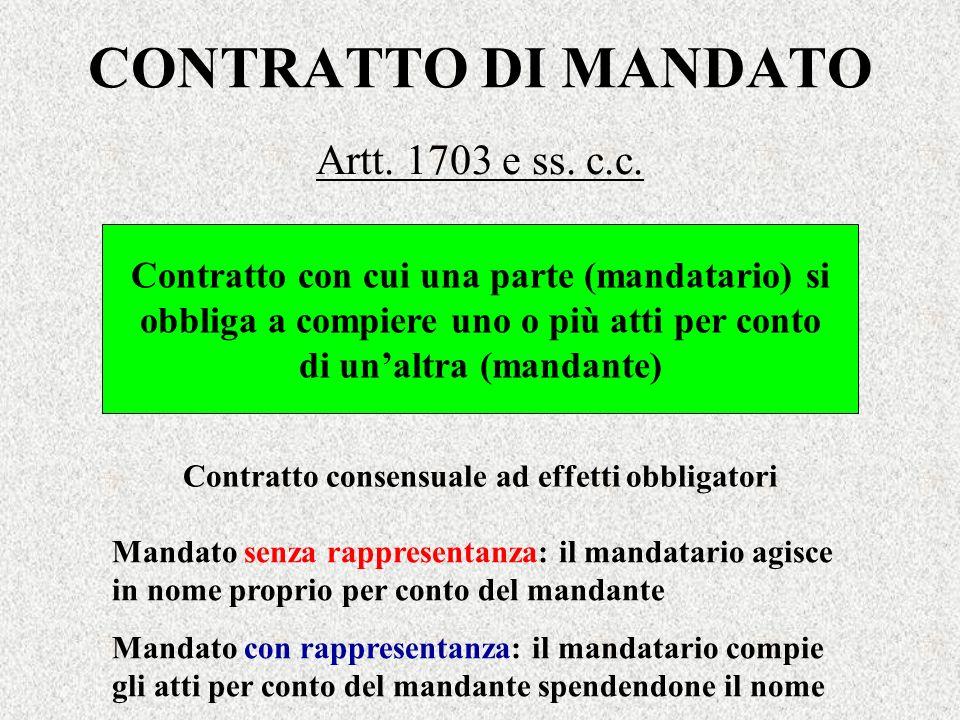 CONTRATTO DI MANDATO Artt. 1703 e ss. c.c. Contratto con cui una parte (mandatario) si obbliga a compiere uno o più atti per conto di unaltra (mandant