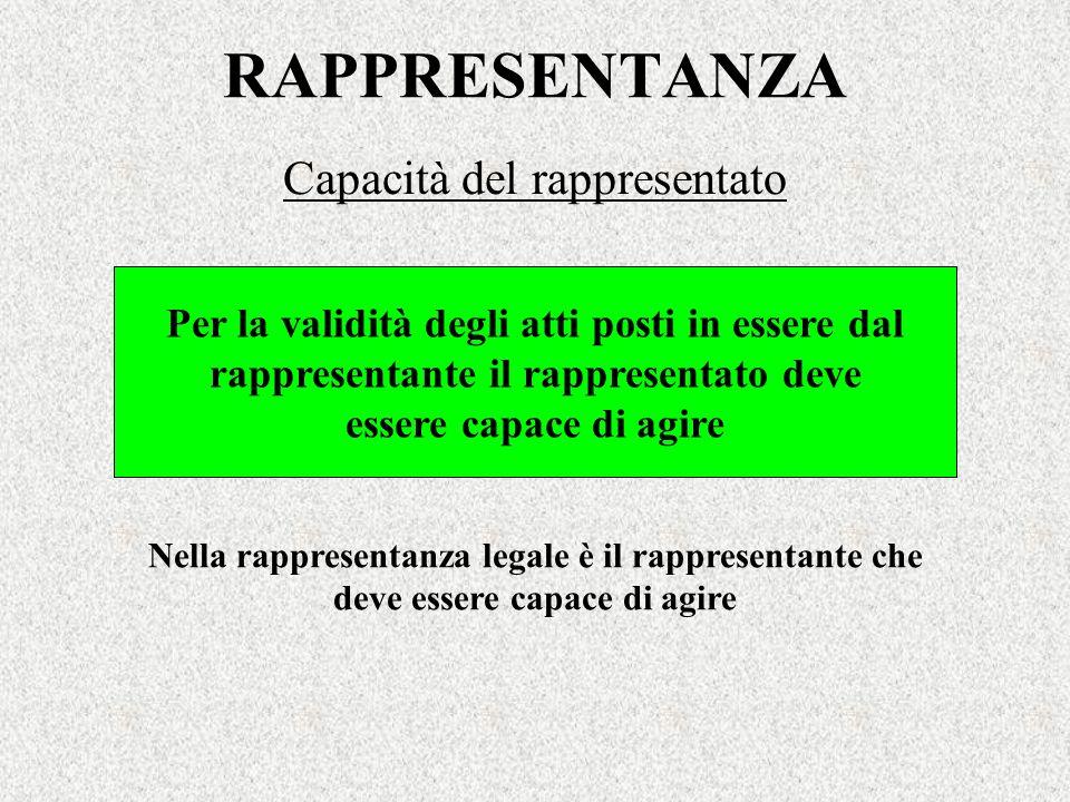 RAPPRESENTANZA Capacità del rappresentato Nella rappresentanza legale è il rappresentante che deve essere capace di agire Per la validità degli atti p