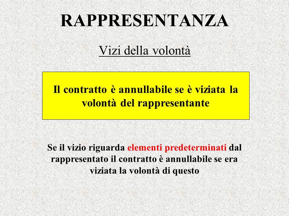 RAPPRESENTANZA Vizi della volontà Il contratto è annullabile se è viziata la volontà del rappresentante Se il vizio riguarda elementi predeterminati d