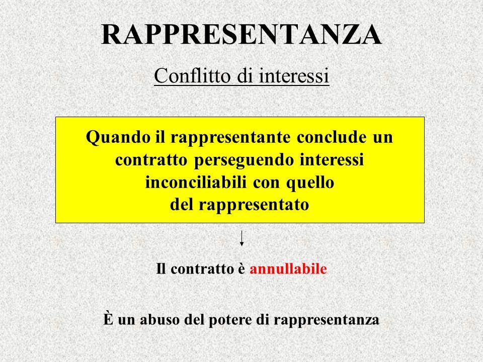 RAPPRESENTANZA Conflitto di interessi È un abuso del potere di rappresentanza Quando il rappresentante conclude un contratto perseguendo interessi inc
