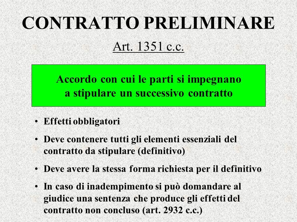 CONTRATTO PRELIMINARE Art. 1351 c.c. Accordo con cui le parti si impegnano a stipulare un successivo contratto Effetti obbligatori Deve contenere tutt
