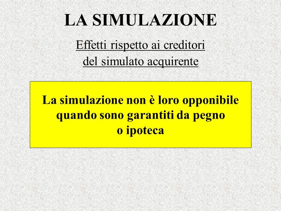 LA SIMULAZIONE Effetti rispetto ai creditori del simulato acquirente La simulazione non è loro opponibile quando sono garantiti da pegno o ipoteca