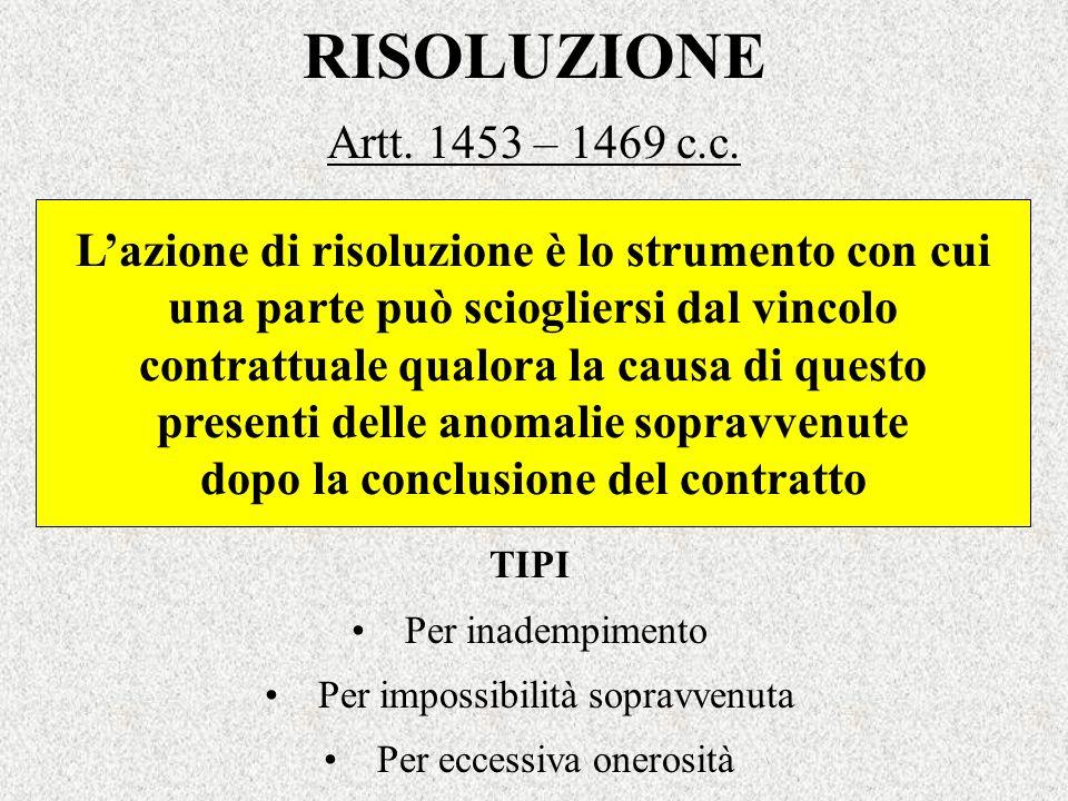 RISOLUZIONE Artt. 1453 – 1469 c.c. Lazione di risoluzione è lo strumento con cui una parte può sciogliersi dal vincolo contrattuale qualora la causa d