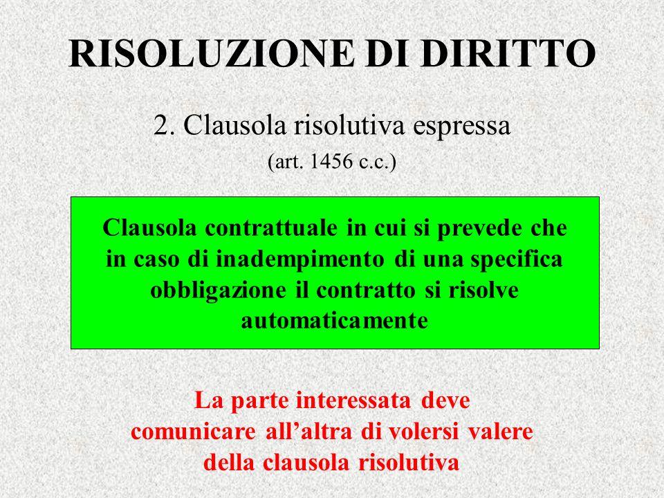 RISOLUZIONE DI DIRITTO 2. Clausola risolutiva espressa (art. 1456 c.c.) Clausola contrattuale in cui si prevede che in caso di inadempimento di una sp