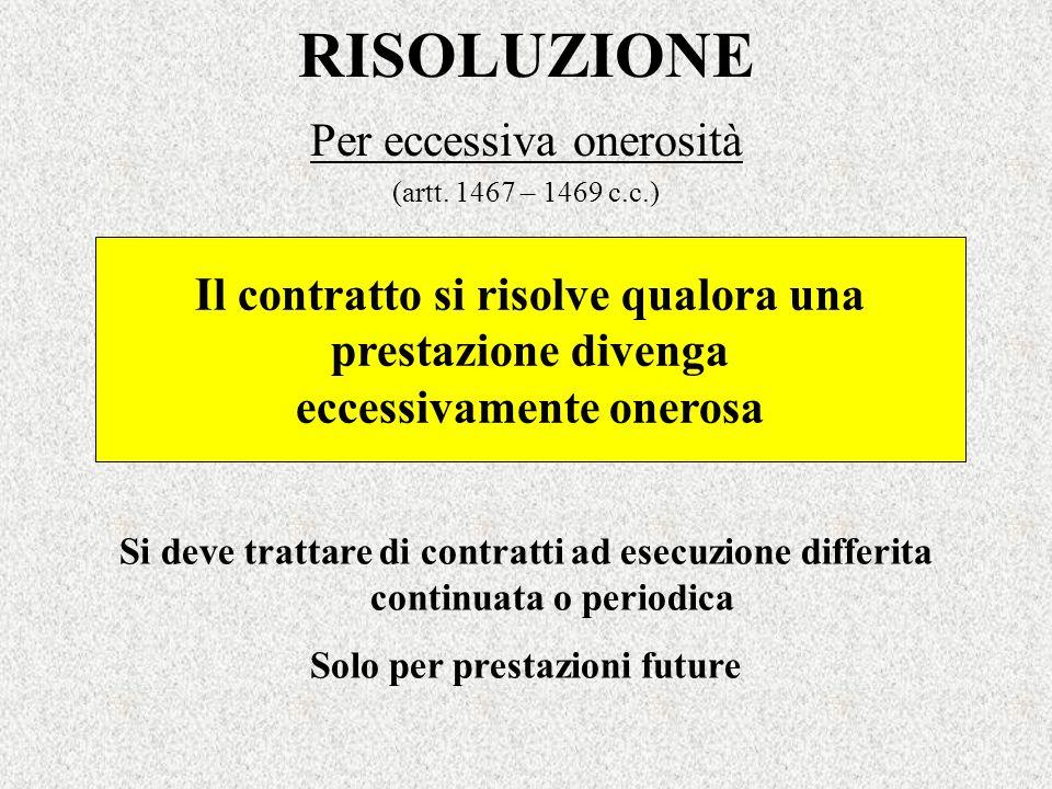 RISOLUZIONE Per eccessiva onerosità (artt. 1467 – 1469 c.c.) Il contratto si risolve qualora una prestazione divenga eccessivamente onerosa Si deve tr