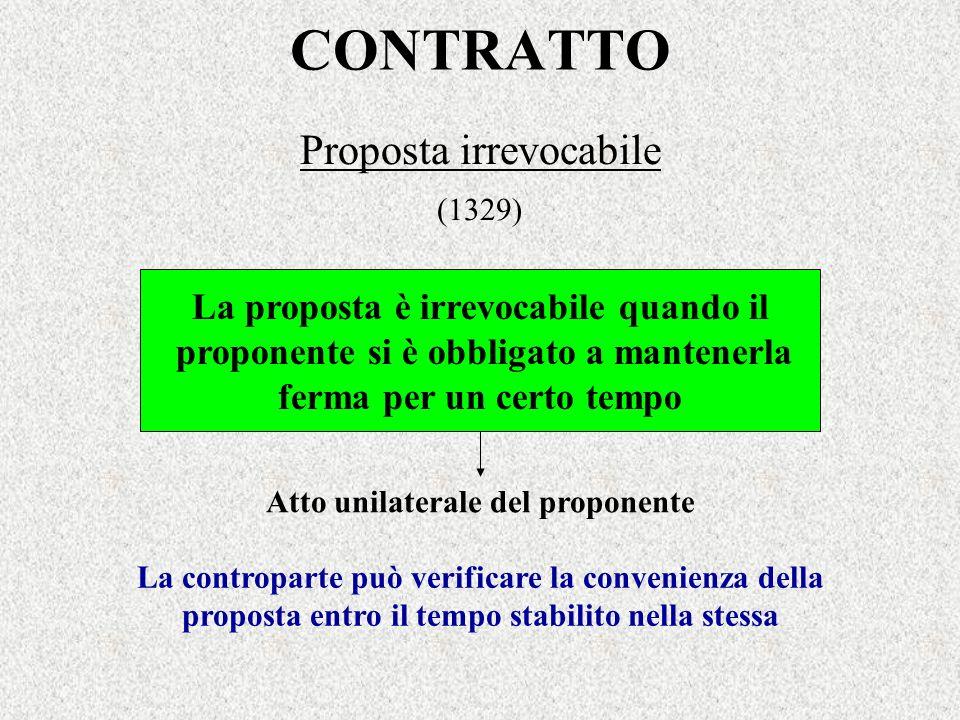 CONTRATTO Proposta irrevocabile (1329) La proposta è irrevocabile quando il proponente si è obbligato a mantenerla ferma per un certo tempo La controp