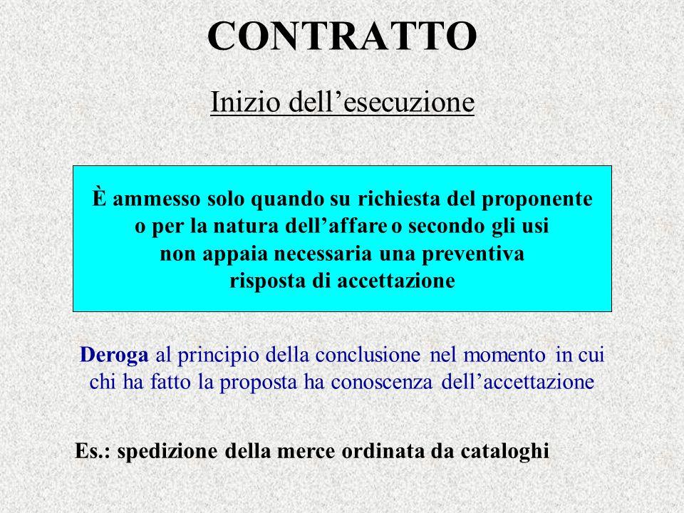 CONTRATTO Inizio dellesecuzione È ammesso solo quando su richiesta del proponente o per la natura dellaffare o secondo gli usi non appaia necessaria u
