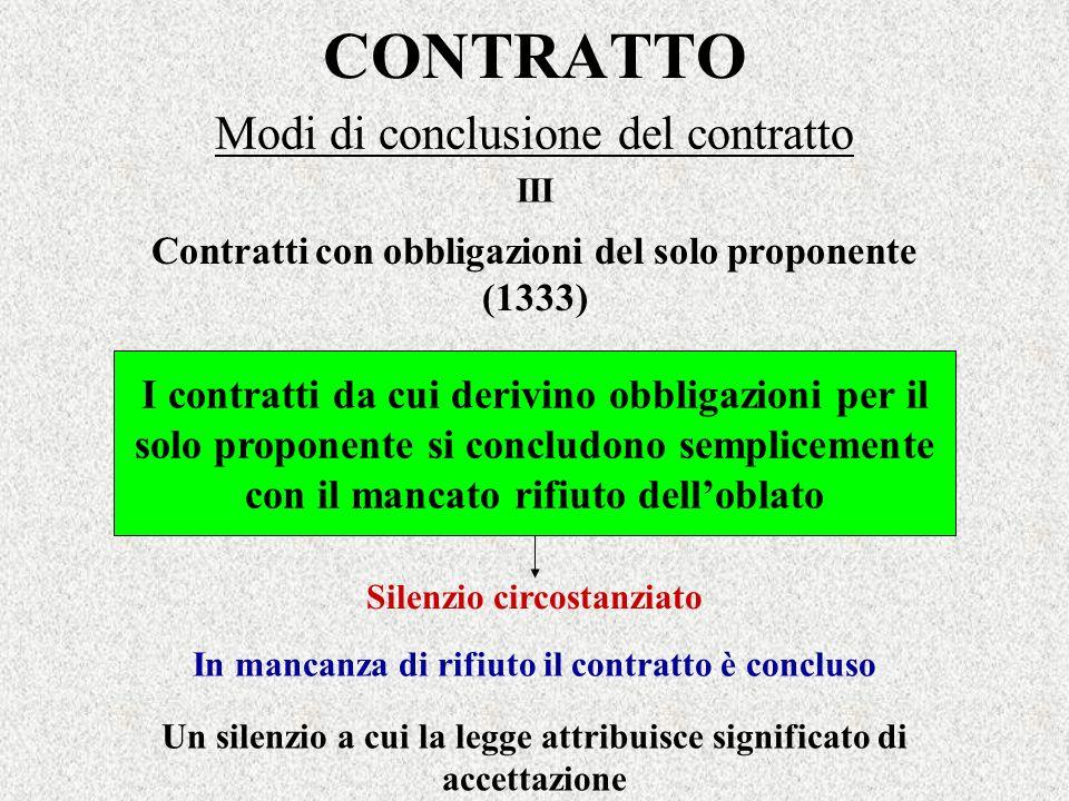 CONTRATTO Modi di conclusione del contratto I contratti da cui derivino obbligazioni per il solo proponente si concludono semplicemente con il mancato