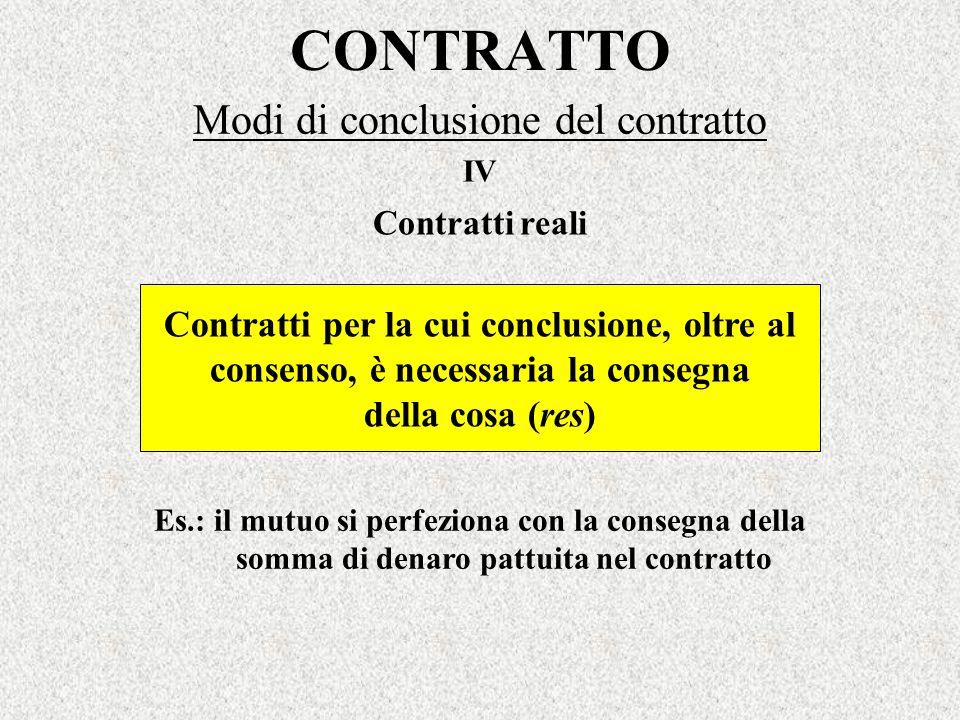 CONTRATTO Modi di conclusione del contratto Contratti per la cui conclusione, oltre al consenso, è necessaria la consegna della cosa (res) IV Contratt
