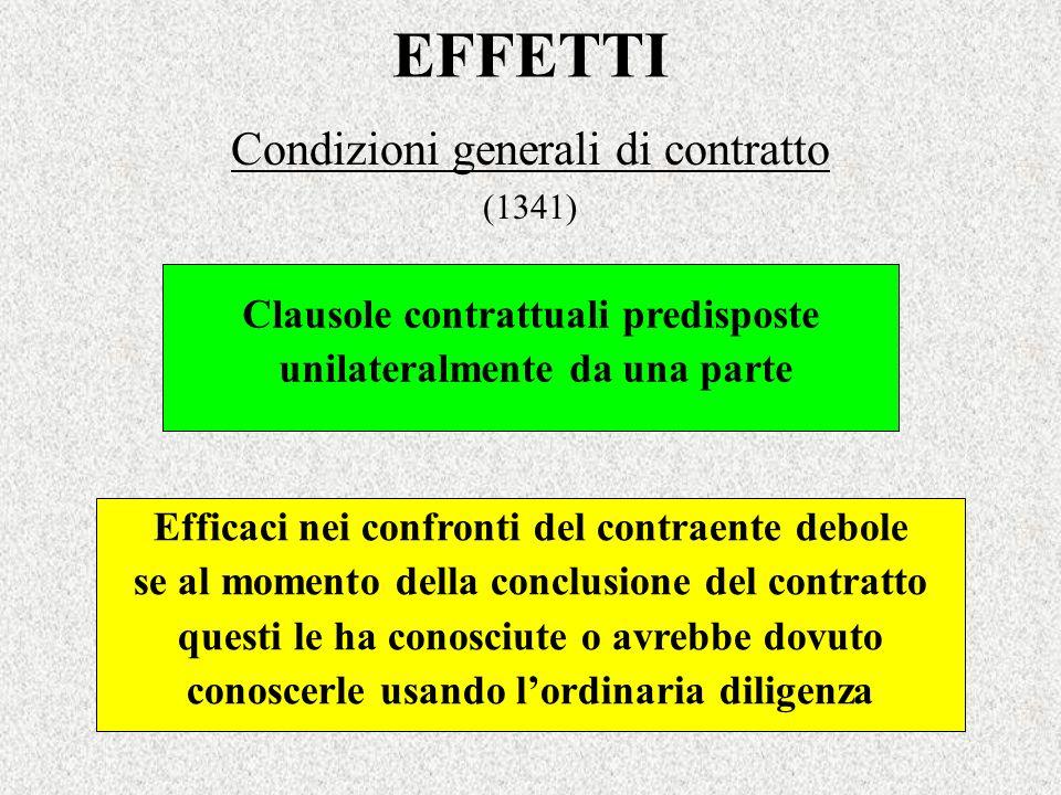 EFFETTI Condizioni generali di contratto (1341) Efficaci nei confronti del contraente debole se al momento della conclusione del contratto questi le h