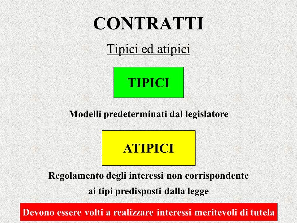 CONTRATTI Tipici ed atipici TIPICI Modelli predeterminati dal legislatore ATIPICI Regolamento degli interessi non corrispondente ai tipi predisposti d