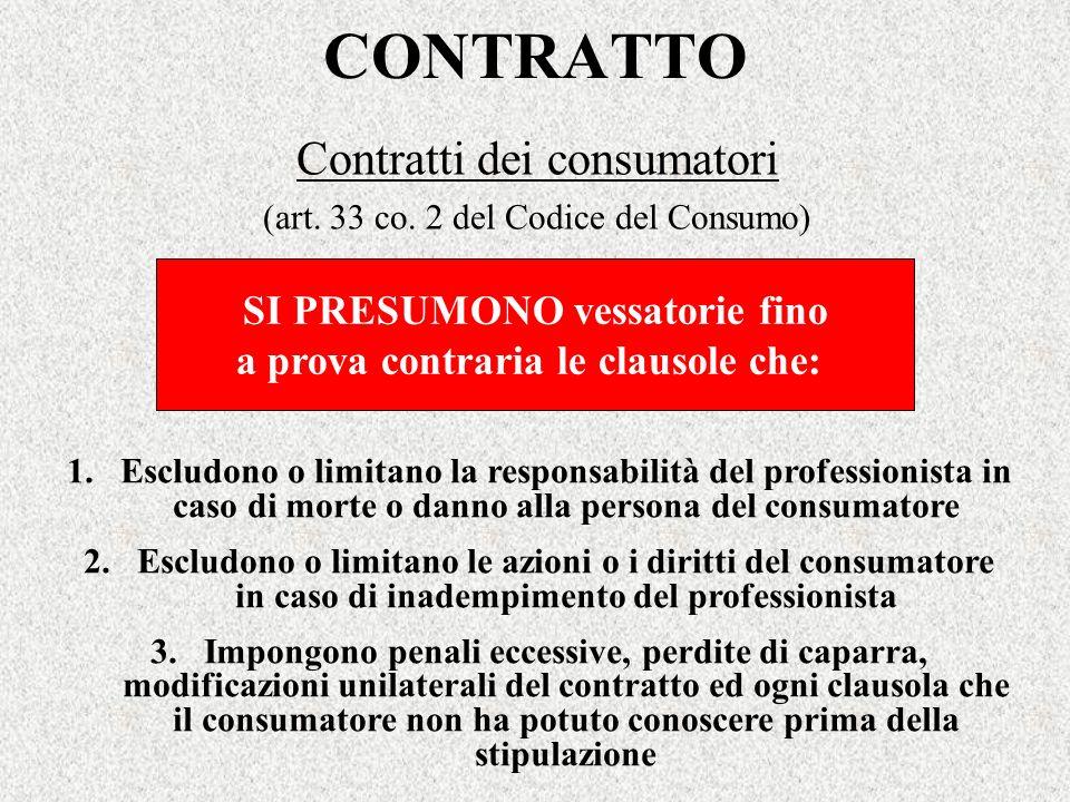 CONTRATTO Contratti dei consumatori (art. 33 co. 2 del Codice del Consumo) 1.Escludono o limitano la responsabilità del professionista in caso di mort