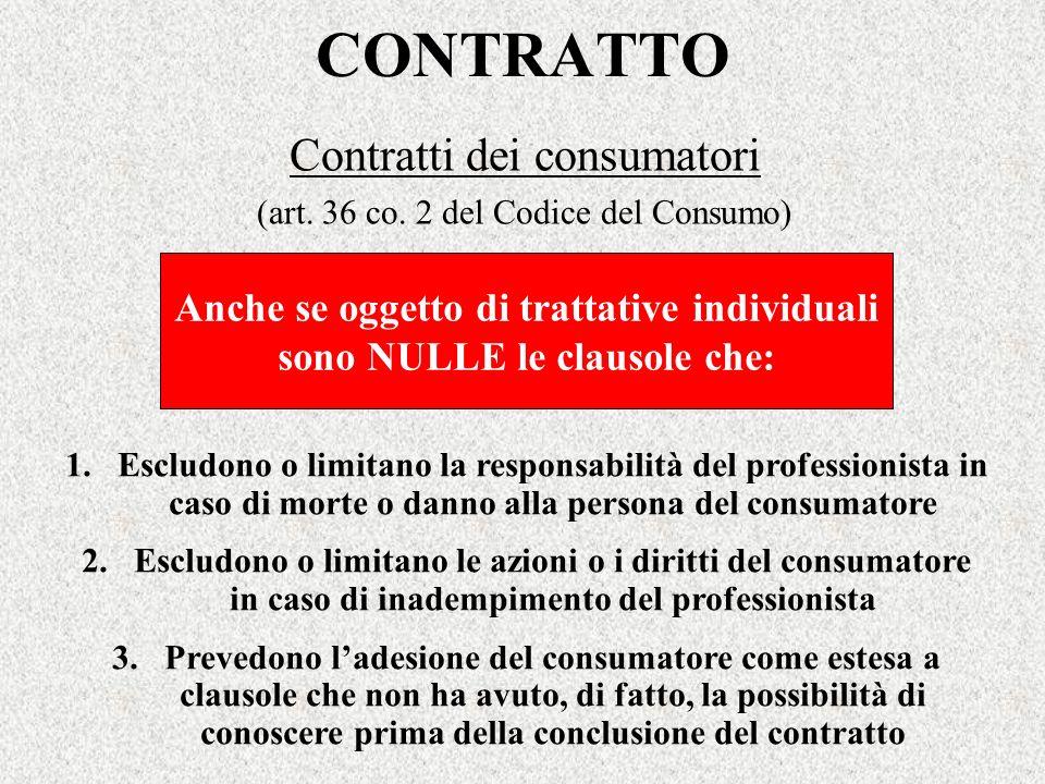 CONTRATTO Contratti dei consumatori (art. 36 co. 2 del Codice del Consumo) Anche se oggetto di trattative individuali sono NULLE le clausole che: 1.Es