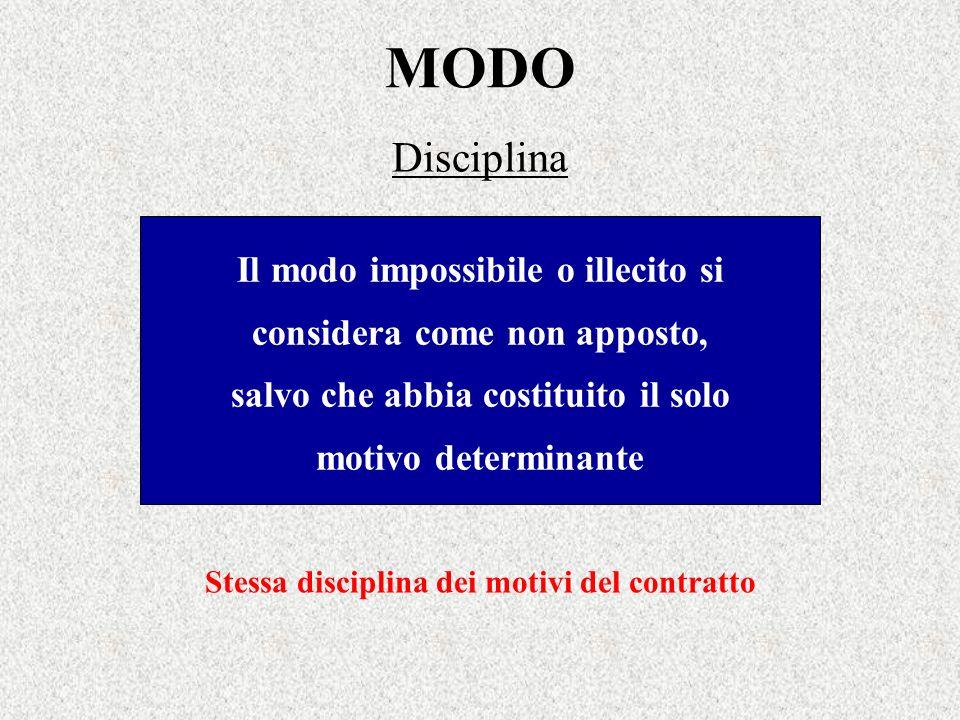 MODO Disciplina Il modo impossibile o illecito si considera come non apposto, salvo che abbia costituito il solo motivo determinante Stessa disciplina