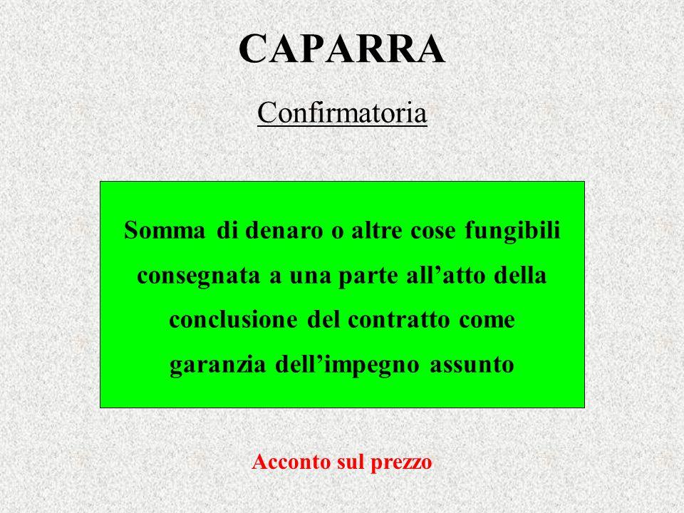 CAPARRA Confirmatoria Somma di denaro o altre cose fungibili consegnata a una parte allatto della conclusione del contratto come garanzia dellimpegno