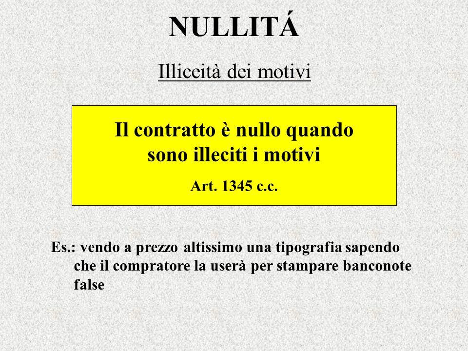 NULLITÁ Illiceità dei motivi Il contratto è nullo quando sono illeciti i motivi Art. 1345 c.c. Es.: vendo a prezzo altissimo una tipografia sapendo ch