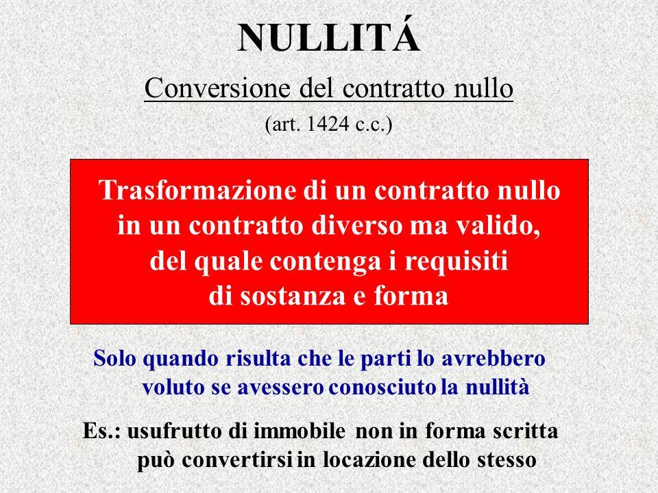 NULLITÁ Conversione del contratto nullo (art. 1424 c.c.) Trasformazione di un contratto nullo in un contratto diverso ma valido, del quale contenga i