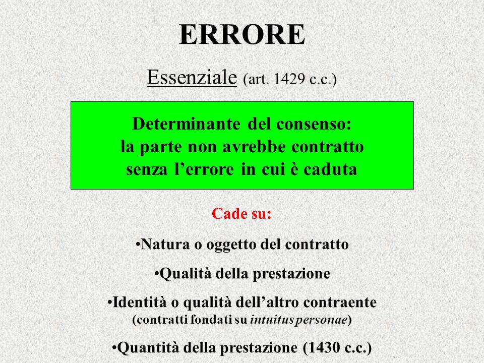 ERRORE Determinante del consenso: la parte non avrebbe contratto senza lerrore in cui è caduta Cade su: Essenziale (art. 1429 c.c.) Natura o oggetto d