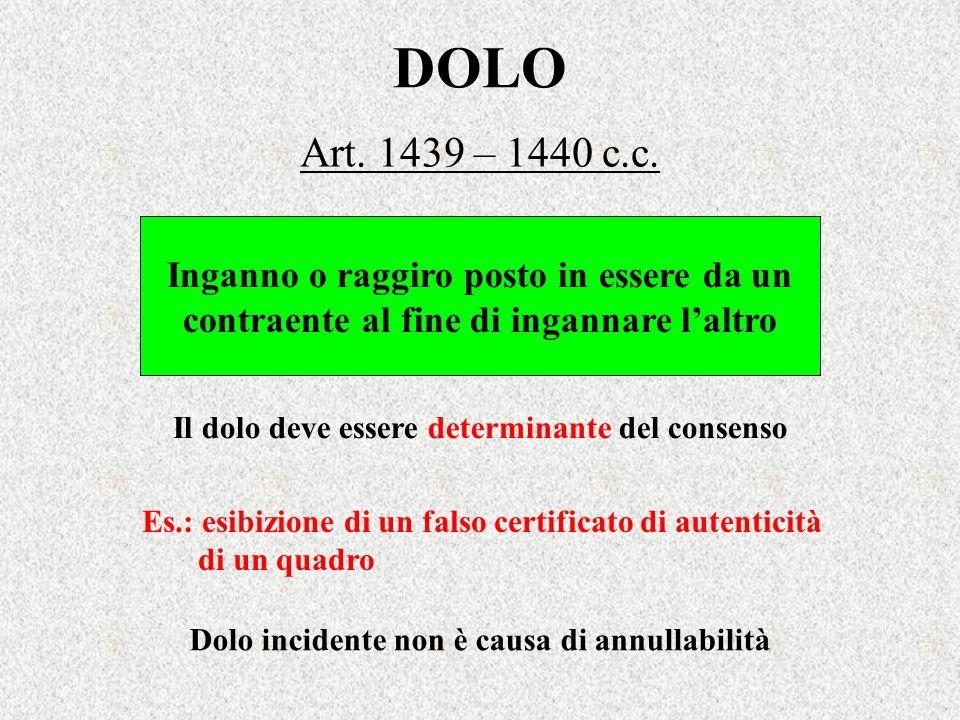 DOLO Art. 1439 – 1440 c.c. Inganno o raggiro posto in essere da un contraente al fine di ingannare laltro Es.: esibizione di un falso certificato di a