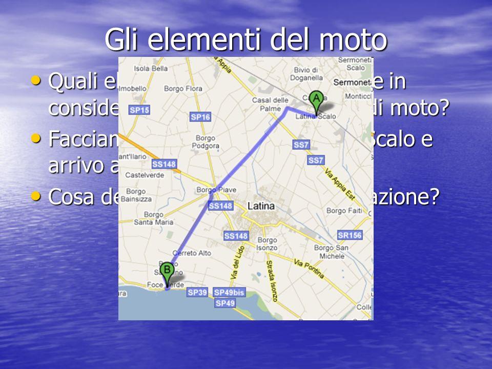 Gli elementi del moto Quali elementi dobbiamo prendere in considerazione quando parliamo di moto? Quali elementi dobbiamo prendere in considerazione q